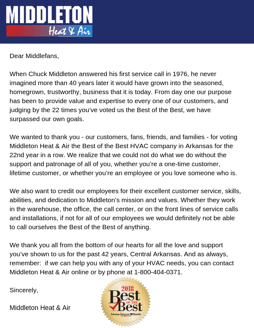 Thank you letter from Middleton to all customers and employees